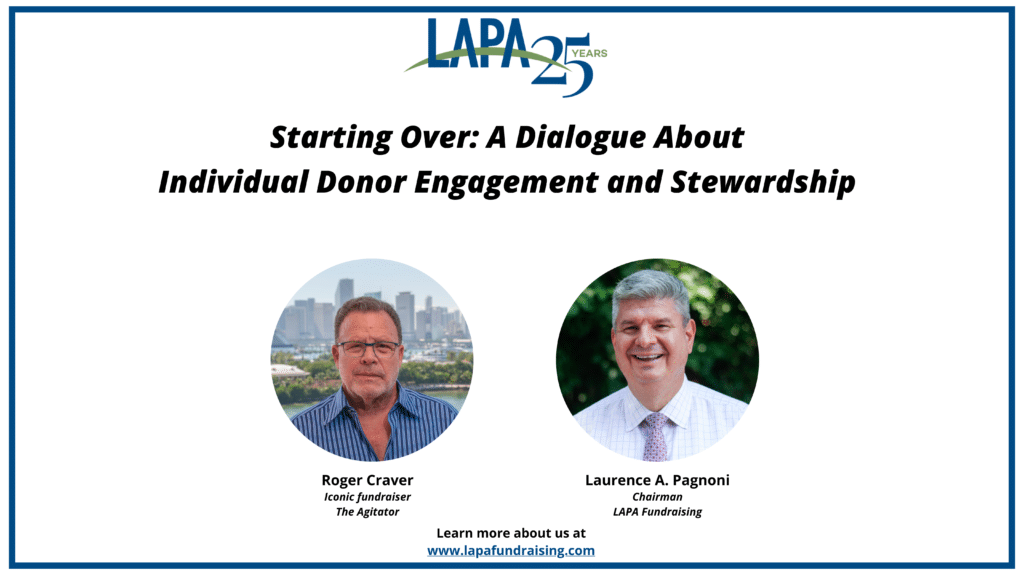 Starting Over: A Dialogue About Individual Donor Engagement and Stewardship