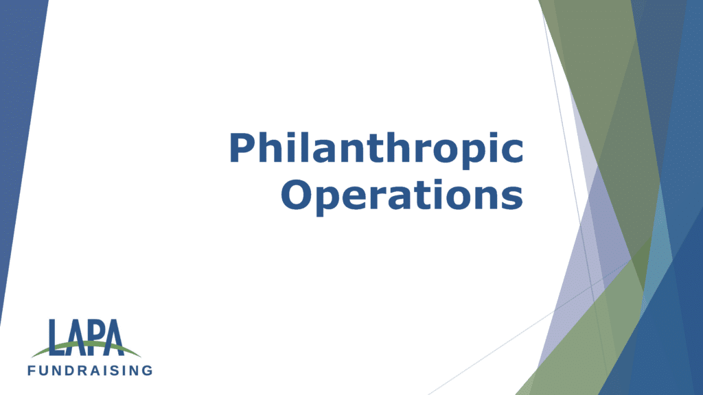 Philanthropy Operations with Laurence Pagnoni and Janna Lee